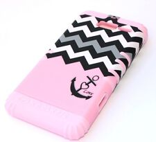 Motorola Droid RAZR M i XT907 -HARD & SOFT HYBRID CASE PINK BLACK CHEVRON ANCHOR
