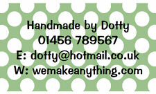 42 Large Personalised Labels Polka Dot Green  / Address / Hobbies  (Stickers)