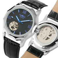 WINNER Luxury Silver Case Automatic Mechanical Business Skeleton Wrist Watches