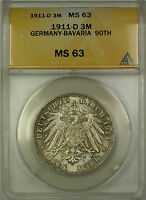 1911-D Germany Bavaria 3M Silver Coin Luitpold 90th ANACS MS-63 Lightly Toned(B)