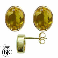 Citrine Oval Yellow Gold Fine Gemstone Earrings