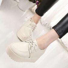 Fashion Woman High Platform Flats Lace Up  Round Toe Creeper Shoes