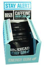 BlockHead Peppermint Energy Gum - Sugar Free - 10 Gums (Pack of 12)