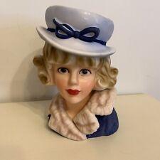 Lady Head Vase- Fur Collar Lady