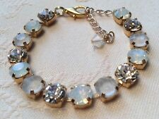 Swarovski Crystal Elements 8mm Bracelet Pacific Opal, Clear Grey, Clear W Gold M