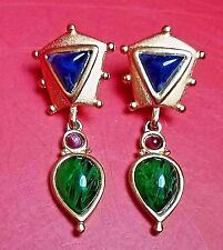 New Designer Quality Runway Cabochon Crystal Matte Gold Pendant Pierced EARRINGS