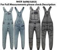 Nuovo Uomo Jeans Salopette Lavoro Vintage Tuta Pettorina e Bretella Nero Blu Al