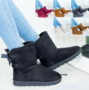 LADIES WOMENS WINTER BOW FAUX FUR LINDED WARM WALKING CASUAL ANKLE BOOTS SIZE