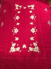 """Red Tablecloth 12 Napkins HandMade Decorated White 100"""" X 63"""""""