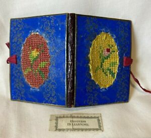 Antique Victorian Sewing Needle Case / Book - Handmade - Embroidered Flowers