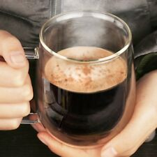 Transparent Double Layer Glass Heat Resistant Tea Coffee Mug Insulation Cup EW