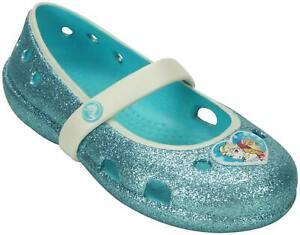 CROCS NEW Baby Toddler Girls Size 4 Keeley Frozen Glitter Flats Pool