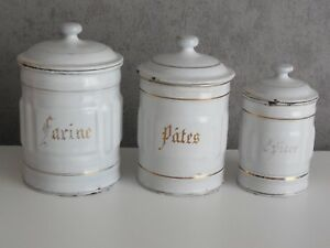 Lot of 3 Antique French Enameled CANISTER SET - WHITE w. GILDED words