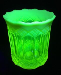 Antique Citrine Uranium Vaseline Glass Vase With Opalescence Top & Base
