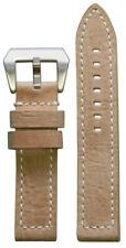 20mm Xl Panatime Beige Vintage Sione Leather Watch Band w/White Stitch 125/85