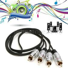 1m OFC Twin 2 RCA Male to 2 RCA Male Stereo Audio Cable Lead Gold Plated Head