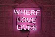 "14""x9""Where Love Lives Neon Sign Light Bistro Bar Pub Wall Hanging Nightlight"