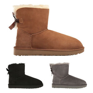 Ugg Australia Womens Boots Mini Bailey Bow II Casual Pull-On Ankle Suede