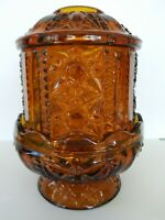 "Vintage Indiana Glass Co. Amber Fairy Lamp/Candle Holder ""Stars & Bars"" 2 Pieces"