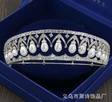 Hot Queen Wedding Pearls Crown Pageant Bridal Headband Crystal Tiara Accessories