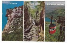 Old Man Flume Gorge Aerial Tramway New Hampshire multi view postcard 1960's