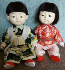 SWEETEST PAIR OF 16 INCH VINTAGE ORIENTAL COMPOSITION TWINS,BOY & GIRL.