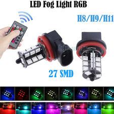 2x LED Remote Control 5050 RGB Color Changing Car H11 27SMD Head Fog Lights Bulb