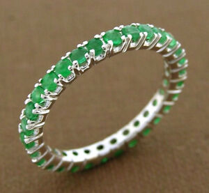 s R122 Genuine 9K SOLID White Gold NATURAL Emerald FULL Eternity Ring Band sz M