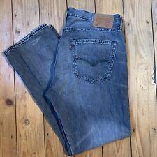 Levis Strauss 501 W36 L30 gris pierna recta Jeans pesado botón de lavado de piedra