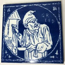"""Rare 1875 Mintons China Works Tile Rustic Humours """"Greed"""" Ebenezer Scrooge 6"""""""