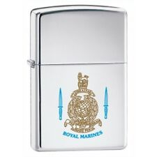 High Polish Chrome Royal Marines Zippo Lighter - Pocket Gift Smokers Accessory