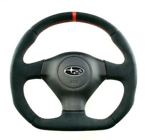 FLAT BOTTOM STEERING WHEEL SUBARU IMPREZA GD WRX STI ! D SHAPE LEATHER ALCANTARA