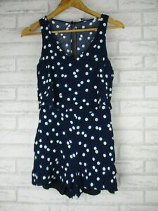 Marcs Womans Playsuit 8 blue green white circle print sleeveless V-neck