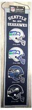 "Seattle Seahawks NFL Helmet Evolution 8"" x 32"" Wool Heritage Hanging Wall Banner"