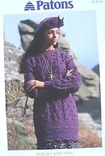 Knitting Pattern Ladies Bobble & Leaf Cable Tunic Sweater Dress Patons 4994