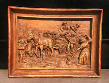 Hand Carved Farming Americana Western Frontier Ornate Relief Wood Carving