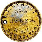 1861 Civil War Soldier ID Dog Tag 11th New Hampshire B F Dennett FredericksburgMedals, Pins & Ribbons - 36038