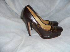 L.A.M.B. GWEN STEFANI BROWN PLATFORM PUMPS HEEL SHOES SIZE UK 3.5 EU 36.5 US 5.5