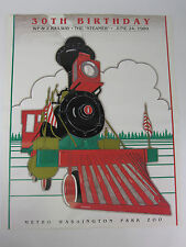 Vtg 1989 WP&Z Zoo Train Washington Park Zoo Poster Oregon Steam Railway RARE