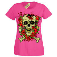 Broken Skull T-Shirt rose skeleton gothic rock punk metal Womens Ladies