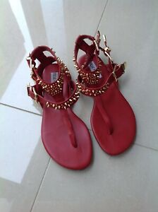 STEVE MADDEN RED FLAT SANDALS WITH STUD DETAIL SIZE 6.5 M-UK 4.5
