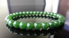 "Genuine Green Taiwanese Jade Quartz Bracelet for Men Women Stretch 6mm - 7.5"""
