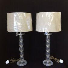 Pair of 1950's glass and chrome column lamps      Ref  A12494