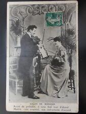 French Romance: LECON DE MUSIQUE No.2 Violin & Mandoline THE MUSIC LESSON c1909