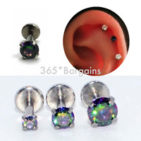 DARK AB Cartilage Earring Triple Helix Tragus Conch Labret Bar Gem Stud Ear