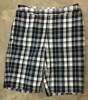 Jones New York Womens Shorts Long Bermuda Navy Blue White Plaid Size 8