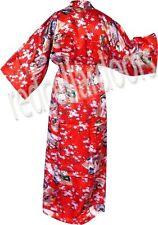 New Womens Ruby Red Japan Geisha Girl Bathrobe Kimono Robe Housecoat Gift Idea