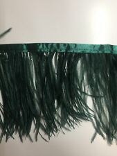 Ostrich Feather Fringe ,sold by yards ,6/7 inches lenght ,deep green