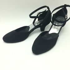 Coast close toe ballroom dance shoe black low heel cross ankle strap 7.5M 10.5W