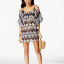 Miken Cold Shoulder Sheer ZigZag Beach Swimsuit Cover-up Dress NWT 14 16 Large L